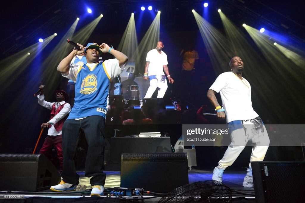 Rappers Numskull (L) and Yukmouth (C) from Luniz perform onstage during the 93.5 KDAY Krush Groove 2017 concert at The Forum on April 22, 2017 in Inglewood, California.