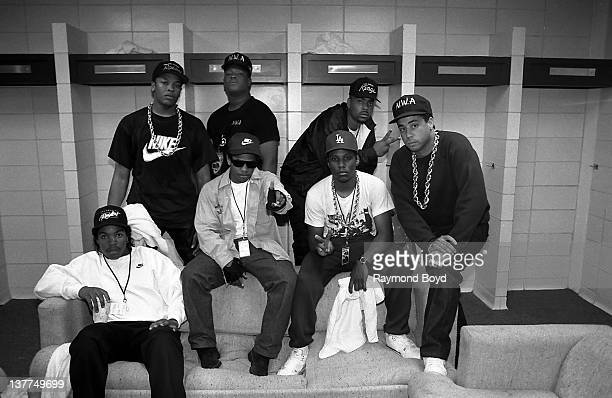 Rappers NWA Dr Dre Laylaw from Above The Law The DOC Ice Cube EazyE MC Ren and DJ Yella pose for a photo before their performance during the Straight...