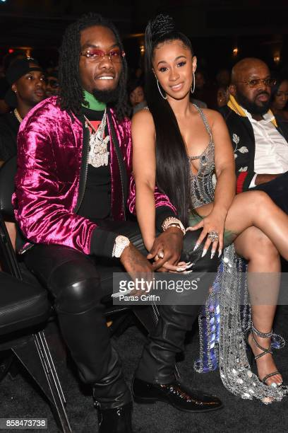 Rappers Offset of Migos and Cardi B attend the BET Hip Hop Awards 2017 at The Fillmore Miami Beach at the Jackie Gleason Theater on October 6 2017 in...
