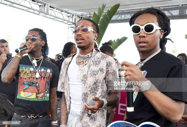 Rappers Offset Quavo and Takeoff of hip hop group Migos perform onstage during #REVOLVEfestival at Coachella with Moet Chandon on April 16 2017 in La...