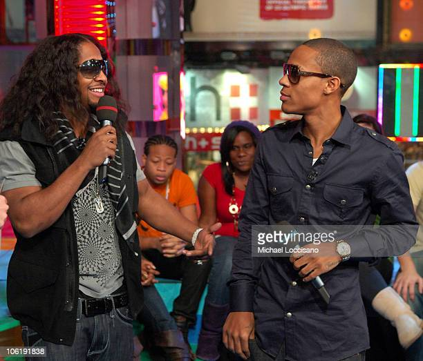 Rappers Omarion and Bow Wow visit MTV's TRL at the MTV Studios in Time Square on December 11 2007 in New York CIty