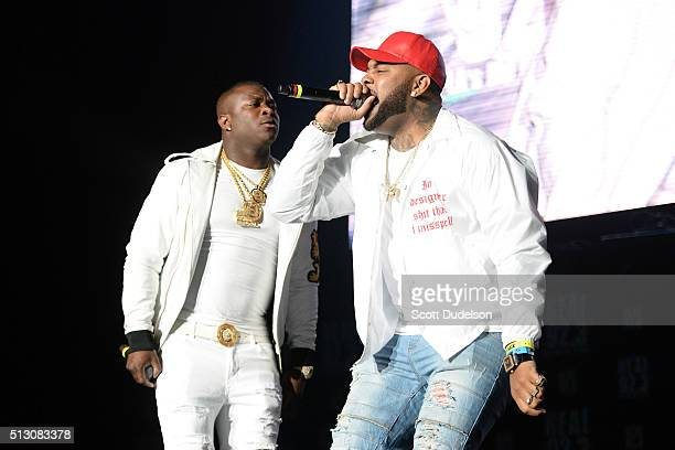 Rappers OT Genasis and AD perform onstage at The Forum on February 28 2016 in Inglewood California