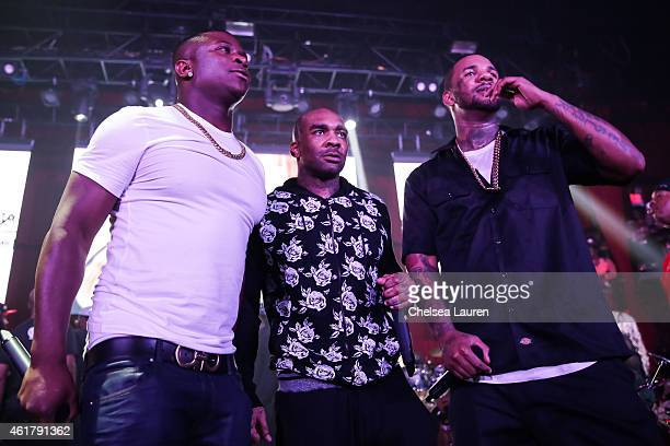 Rappers OT Genasis Avante Rose and The Game on stage at The Documentary 10th anniversary party and concert on January 18 2015 in Los Angeles...
