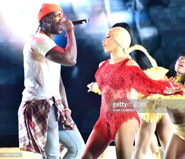 Rappers Pardison Fontaine and Cardi B perform onstage during day 2 of Rolling Loud Festival at Banc of California Stadium on December 15 2018 in Los...