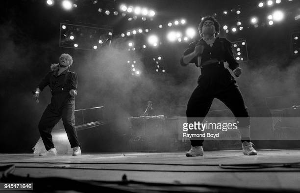 Rappers Pepa and Salt from SaltNPepa performs at Kemper Arena in Kansas City Missouri in April 1989