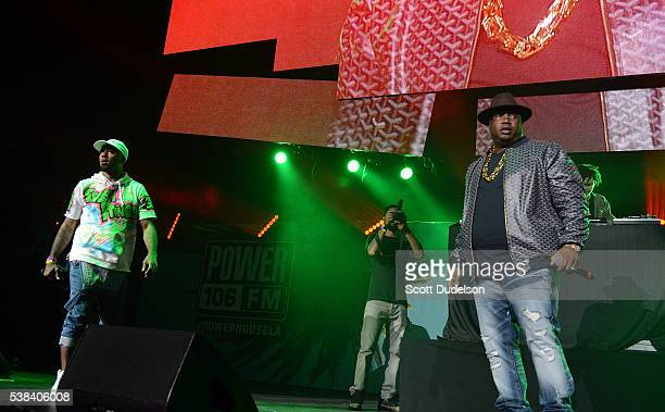 Rappers Problem and E40 perform onstage at the Power 106 Powerhouse show at Honda Center on June 3 2016 in Anaheim California