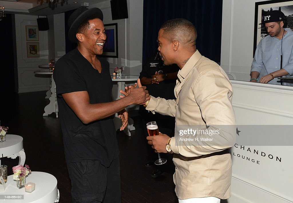 Rappers Q-Tip (L) and Nas attend Moet Rose Lounge Presents Nas' Life Is Good at Bagatelle on July 16, 2012 in New York City.