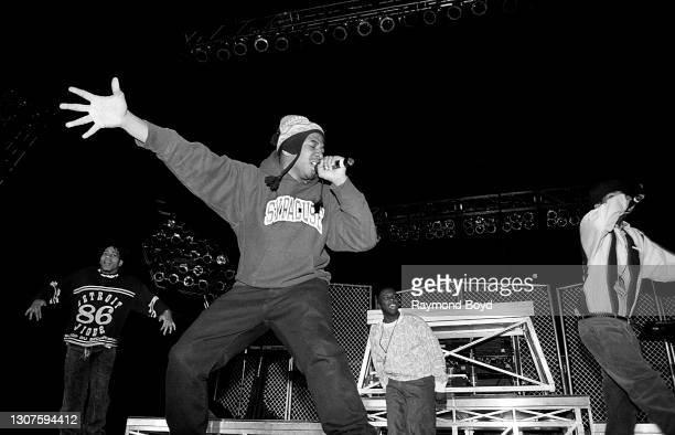 Rappers Q-Tip and Phife Dawg of A Tribe Called Quest, and Cut Monitor Milo and Charlie Brown of Leaders Of The New School performs at the Rosemont...