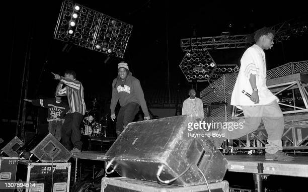 Rappers Q-Tip and Phife Dawg of A Tribe Called Quest, and Cut Monitor Milo , Busta Rhymes and Dino D of Leaders Of The New School performs at the...