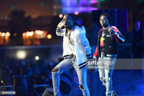 Rappers Quavo and Offset of the hip hop group Migos perform onstage during week 1 day 3 of the Coachella Valley Music And Arts Festival on April 15...