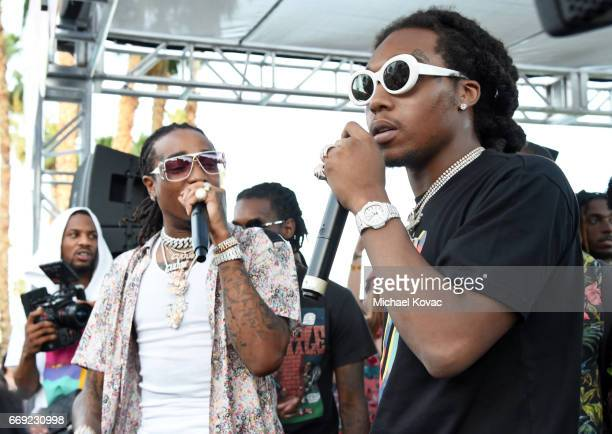 Rappers Quavo and Takeoff of hip hop group Migos perform onstage during #REVOLVEfestival at Coachella with Moet & Chandon on April 16, 2017 in La...