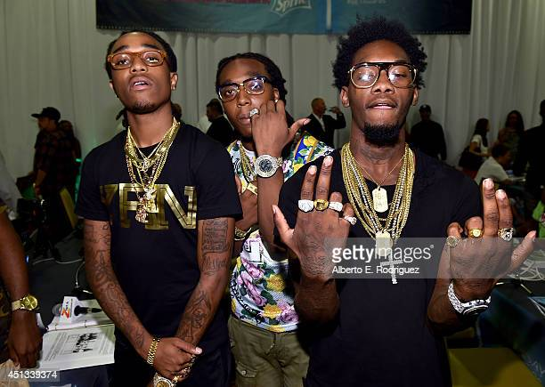 Rappers Quavo Takeoff and Offset of Migos attend day 1 of the Radio Broadcast Center during the BET Awards '14 on June 27 2014 in Los Angeles...