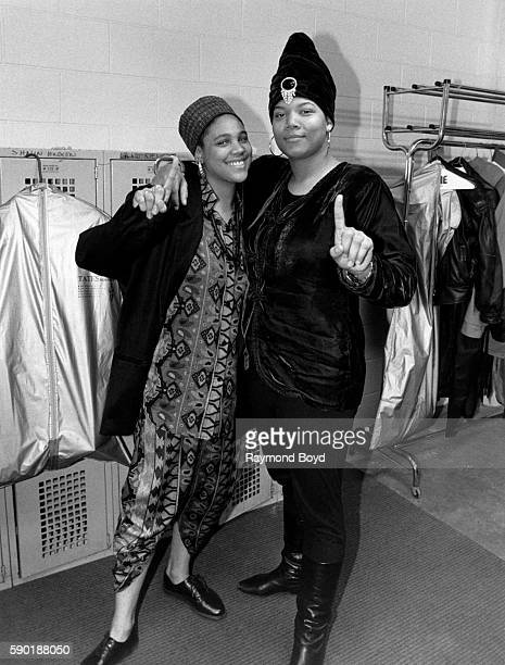 Rappers Queen Latifah and Monie Love poses for photos backstage at the Genesis Convention Center in Gary, Indiana in February 1990.