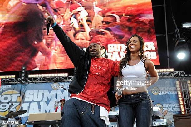 Rappers Raekwon Ghostface Killah and singer Alicia Keys perform at the HOT 97 Summer Jam presented by Boost Mobile at Giants Stadium June 1 2008 in...