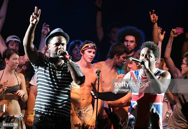 Rappers Rah Almillio and Krispy Kream of The Knux performs on stage during Bonnaroo 2009 on June 11 2009 in Manchester Tennessee