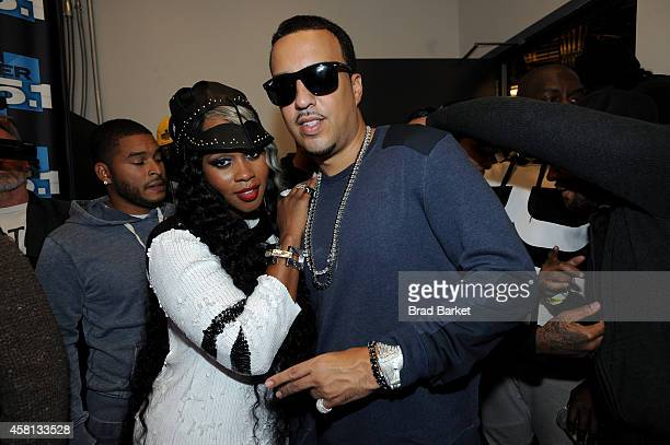 Rappers Remy Ma and French Montana pose backstage at Power 1051's Powerhouse 2014 at Barclays Center of Brooklyn on October 30 2014 in New York City