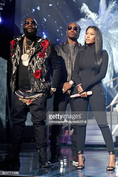 Rappers Rick Ross Future and Nicki Minaj perform onstage the 2016 American Music Awards at Microsoft Theater on November 20 2016 in Los Angeles...