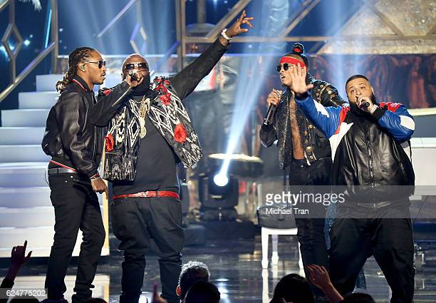 Rappers Rick Ross Future August Alsina and DJ Khaled perform onstage during the 2016 American Music Awards held at Microsoft Theater on November 20...