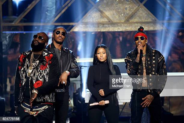 Rappers Rick Ross Future Nicki Minaj and August Alsina perform onstage during the 2016 American Music Awards held at Microsoft Theater on November 20...