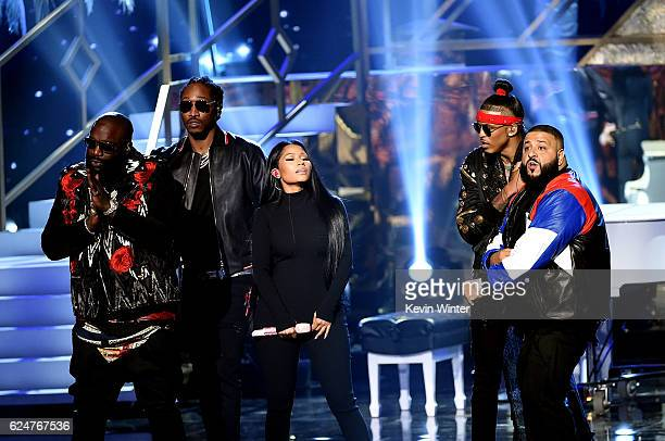 Rappers Rick Ross Future Nicki Minaj August Alsina and DJ Khaled perform onstage during the 2016 American Music Awards at Microsoft Theater on...