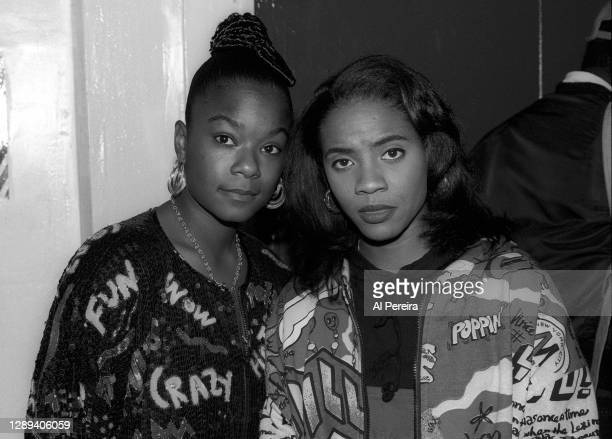 """Rappers Roxanne Shante and MC Lyte appear backstage at the """"Sisters In The Name Of Rap"""" concert and television special at The Ritz on October 8, 1991..."""