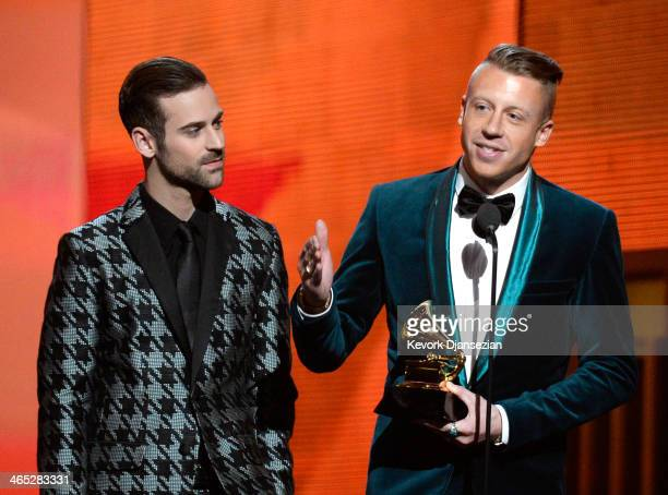 Rappers Ryan Lewis and Macklemore accept the Best New Artist award onstage during the 56th GRAMMY Awards at Staples Center on January 26 2014 in Los...