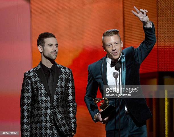 Rappers Ryan Lewis and Macklemore accept the Best New Artist award onstage during the 56th GRAMMY Awards at Staples Center on January 26, 2014 in Los...