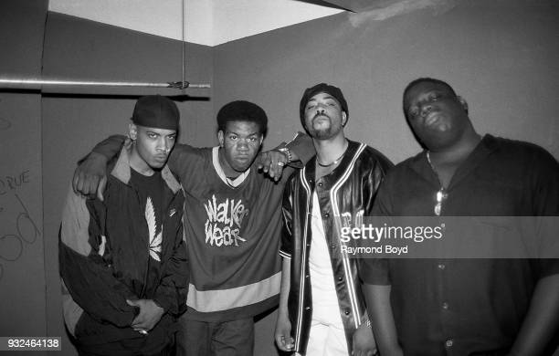Rappers Saafir Craig Mack The DOC and Notorious BIG poses for photos backstage after their performance at the Riviera Theatre in Chicago Illinois in...