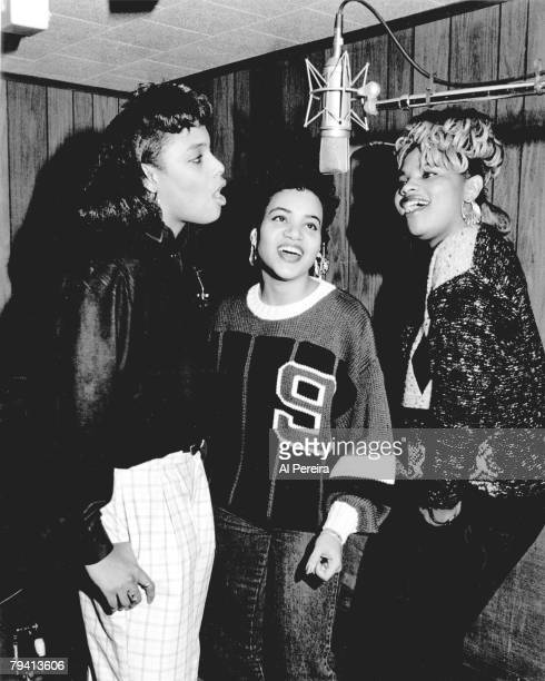 Rappers Salt N' Pepa appear in a portrait taken on February 6 1989 while working at Bayside Sound Recording Studios in the Bayside Queens...