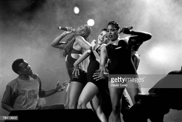 Rappers SaltNPepa and their DJ Spinderella perform onstage at Radio City Music Hall on May 27 1994 in New York City New York