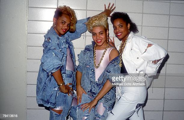 Rappers SaltNPepa and their DJ Spinderella pose for a portrait in 1988