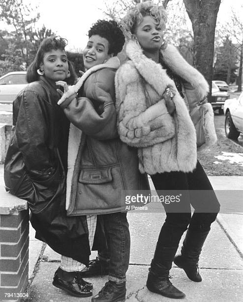 Rappers SaltNPepa and their DJ Spinderella record on February 6 1988 in Bayside Queens New York
