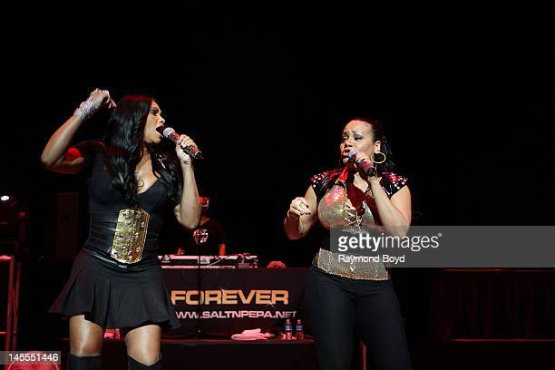 Rappers Sandra Pepa Denton and Cheryl Salt James of rap group SaltNPepa performs at the Arie Crown Theater in Chicago Illinois on MARCH 19 2011