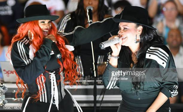 Rappers Sandra Pepa Denton and Cheryl Salt James of SaltNPepa perform during a getoutthevote rally featuring former US President Barack Obama at the...