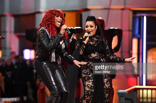 Rappers Sandra 'Pepa' Denton and Cheryl 'Salt' James of SaltNPepa perform onstage during the 2016 MTV Movie Awards at Warner Bros Studios on April 9...