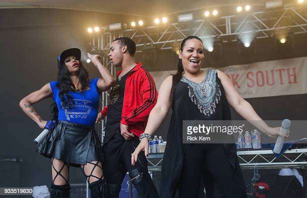 Rappers Sandra 'Pepa' Denton and Cheryl 'Salt' James of SaltNPepa perform onstage during Rachael Ray's Feedback at Stubb's BarBQ on March 17 2018 in...