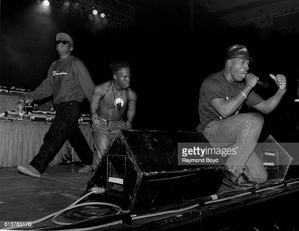 Rappers Scarface Bushwick Bill and Willie D from The Geto Boys performs at the New Regal Theater in Chicago Illinois in October 1991