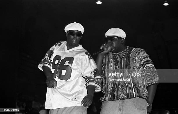 Rappers Sean 'Puffy' Combs and Notorious BIG performs at the International Amphitheatre in Chicago Illinois in April 1995