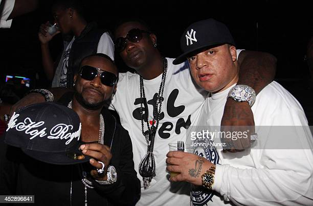Rappers Shawty Lo and Gucci Mane and Conerstore Magazine Editor In Chief James Bimmy Antney attend the Corner Store Magazine launch BET Hip Hop...