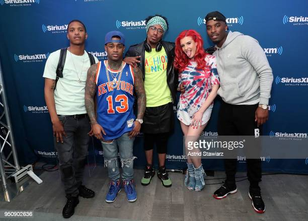 Rappers Showwoutt Conceited Nick Cannon Justina Valentine and Hitman Holla pose at SiriusXM's Hip Hop Nation on April 24 2018 in New York City