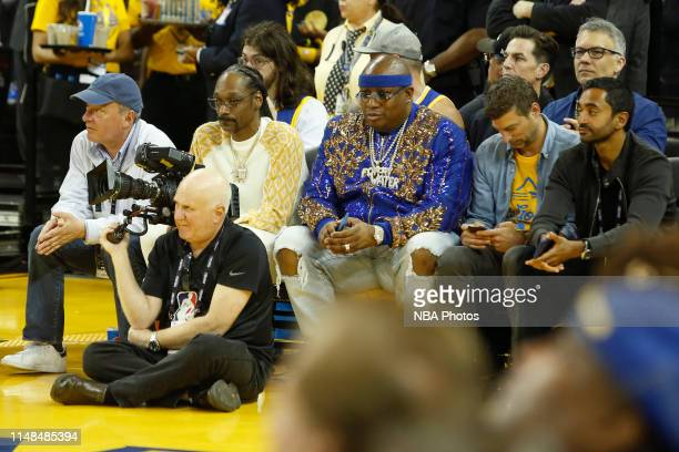 Rappers Snoop Dogg and E40 attend Game Four of the NBA Finals between the Toronto Raptors and the Golden State Warriors on June 7 2019 at Oracle...