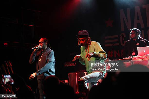 Rappers Snoop Dogg and Wiz Khalifa perform at 2nd Annual National Concert Day Show at Irving Plaza on May 3 2016 in New York City