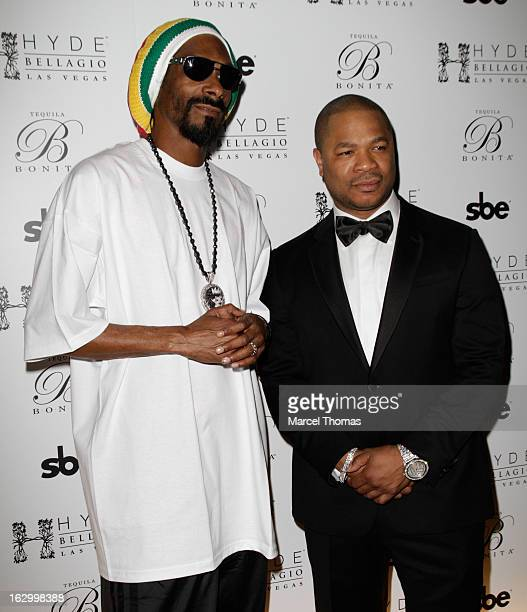 Rappers Snoop Lion and Xzibit attend the launch party for Bonita Platinum Tequila at Hyde Bellagio at the Bellagio on March 2, 2013 in Las Vegas,...