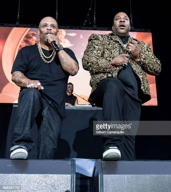 Rappers Spliff Star and Busta Rhymes perform during The Miseducation of Lauryn Hill 20th Anniversary Tour at Festival Pier at Penn's Landing on July...