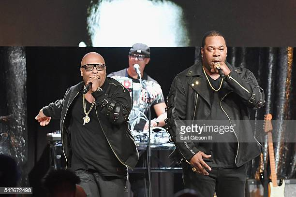 Rappers Spliff Star and Busta Rhymes perform onstage during the 2016 ASCAP Rhythm Soul Awards at the Beverly Wilshire Four Seasons Hotel on June 23...