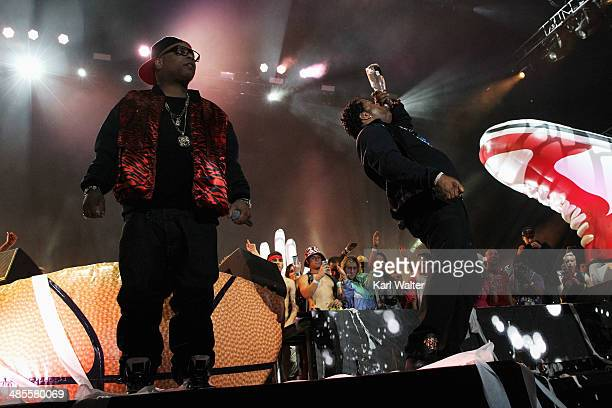 Rappers Spliff Star and Busta Rhymes perform with Girl Talk onstage during day 1 of the 2014 Coachella Valley Music Arts Festival at the Empire Polo...