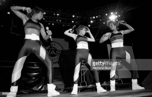 Rappers Stacy Phillips, Baby D and MC JB from JJ Fad performs at Kemper Arena in Kansas City, Missouri in June 1989.