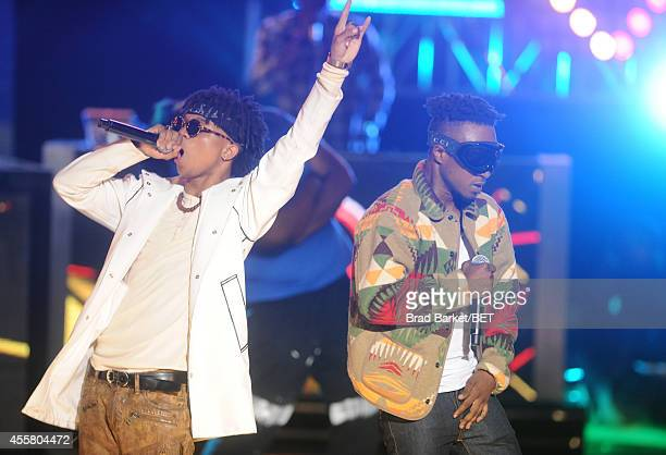 Rappers Swae Lee and Slim Jimmy of Rae Sremmurd performs onstage during the BET Hip Hop Awards 2014 at Boisfeuillet Jones Atlanta Civic Center on...