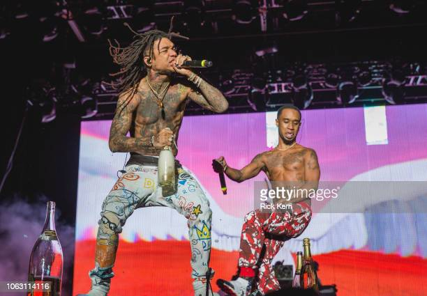 Rappers Swae Lee and Slim Jxmmi of Rae Sremmurd perform onstage during Travis Scott's inaugural Astroworld Festival at NRG Park on November 17 2018...