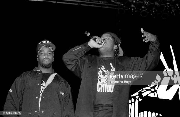 Rappers T Bone and Ice Cube of Da Lench Mob performs at The Arena in St. Louis, Missouri in August 1990.